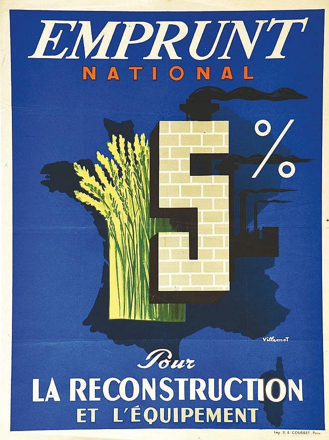 VILLEMOT BERNARD  Pour la Reconstruction et l'Equipement     vers 1950