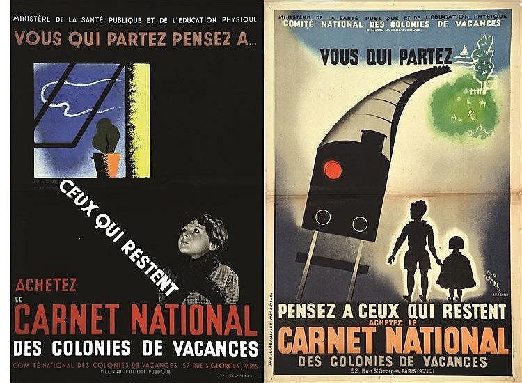 TOTEL d'après / AT.J. CARLU  Lot de 2 Affiches: Vous qui partez pensez à ceux qui restent achetez le Carnet National des Colonies     vers 1930