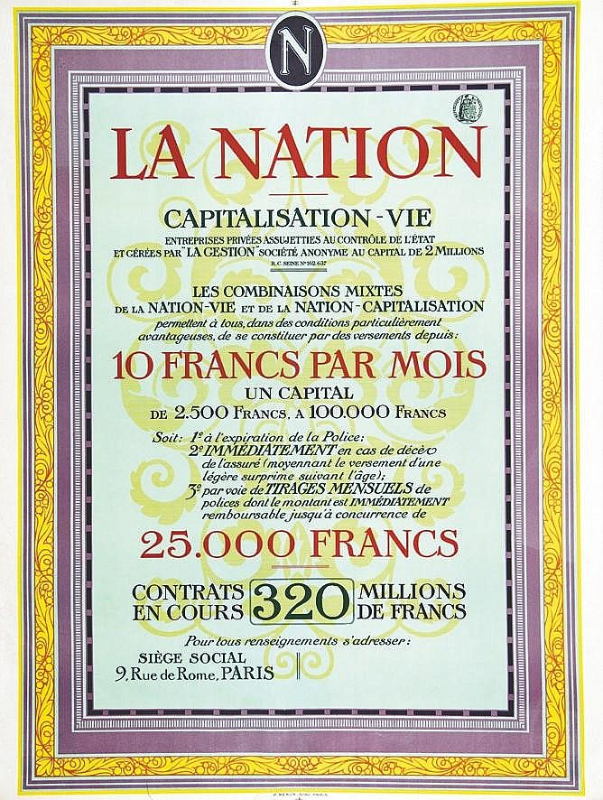 La Nation - Capitalisation     vers 1900