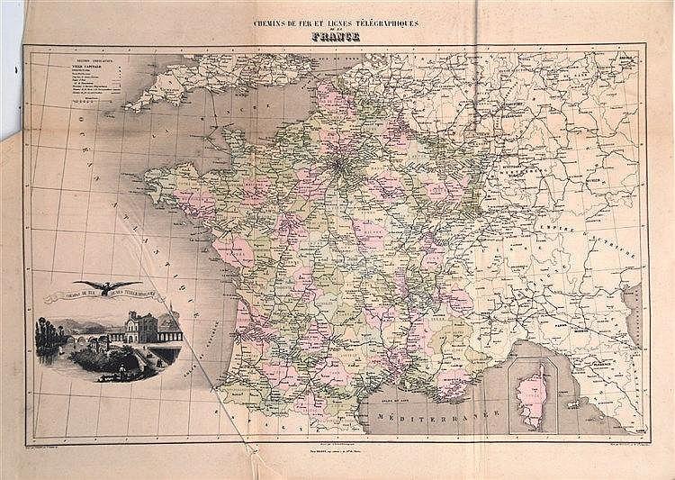 VUILLEMIN A. GEOGRAPHE  Chemins de Fer et Lignes Télégraphiques     vers 1850