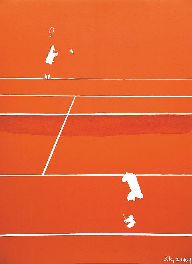AILLAUD GILLES Projet Abandoné de Roland Garros 1984 Lithographie signée par Gilles Aillaud et N° 65 /150 1984