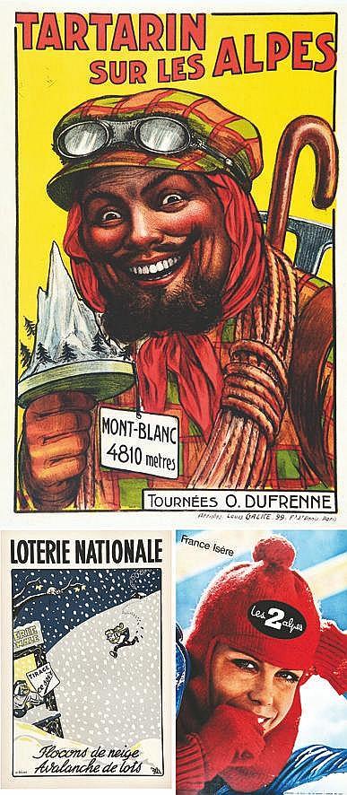 Lot de 3 Affiches: Les 2 Alpes - Tartarin sur les Alpes - Loterie Nationale     vers 1900 1950 1970