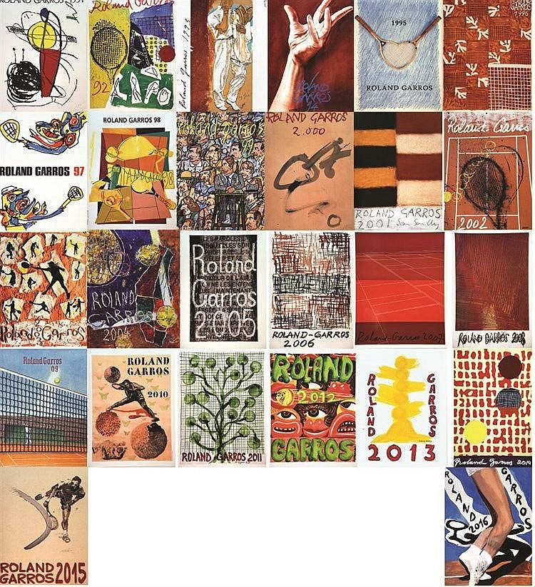 Collection de 26 Affiches de Roland Garros de 1991 à 2016     1991 à 2016