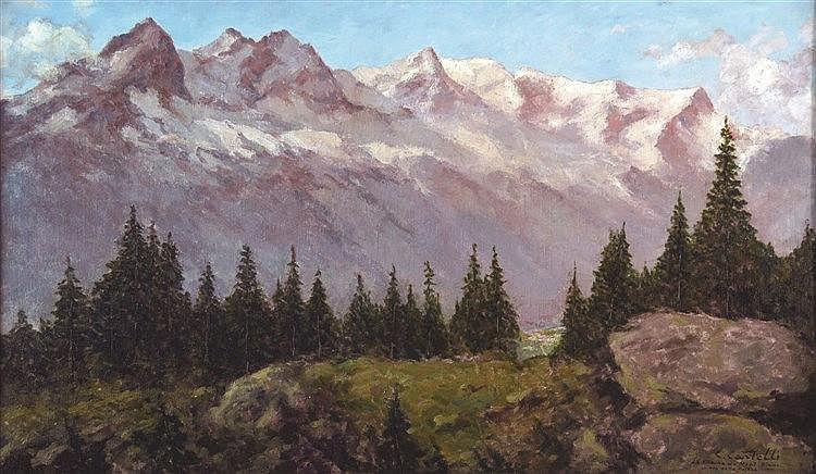 CASTELLI CLEMENT La Chaine du Mont Blanc vue du Flégère Huile sur Toile signée Clément Castelli vers 1930