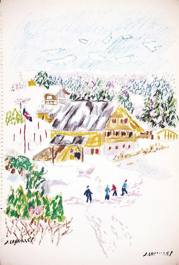CAVAILLES JULES Le Châlet pastel signé du tampon de J. Cavailles vers 1960