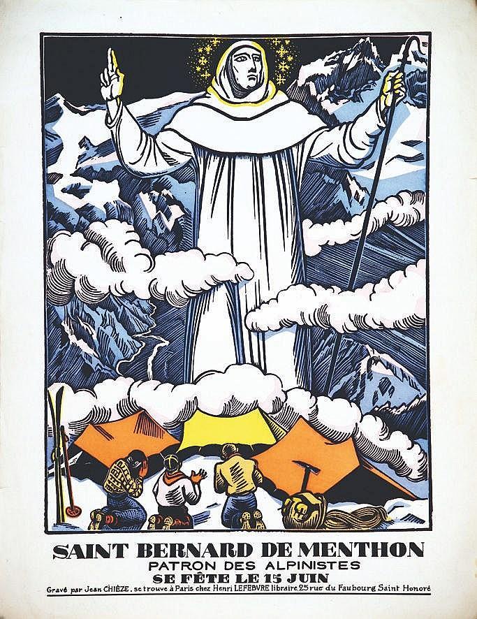 CHIEZE JEAN  Saint Bernard de Menthon Patron des Alpinistes 15 juin     vers 1930