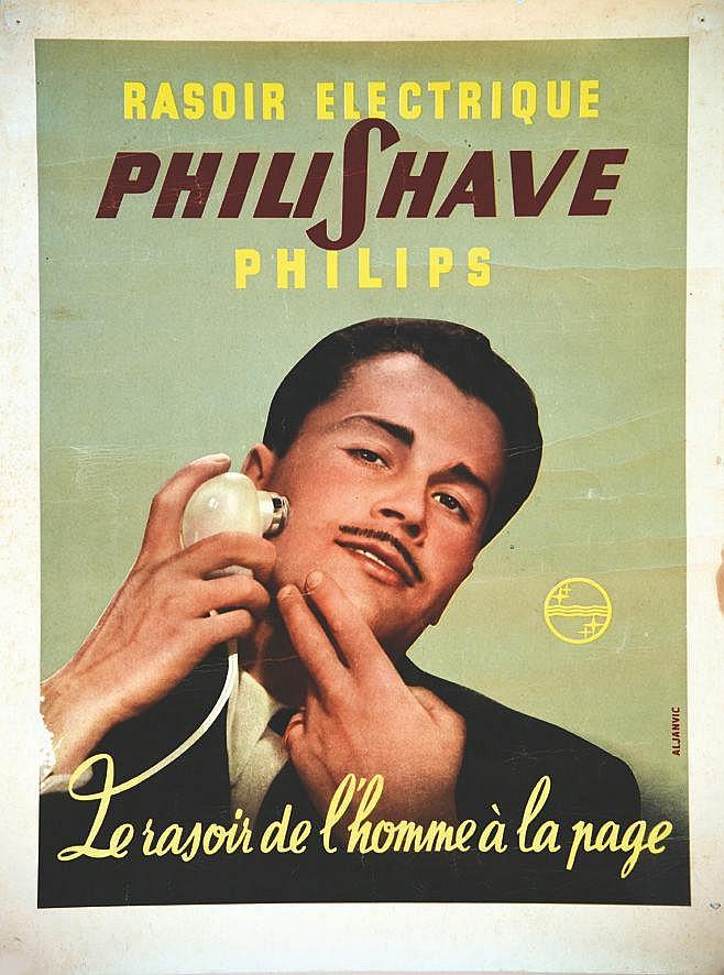 ALJANVIC Rasoir Philishave, rasoir électrique Philips, le rasoir de l'homme à la page vers 1950