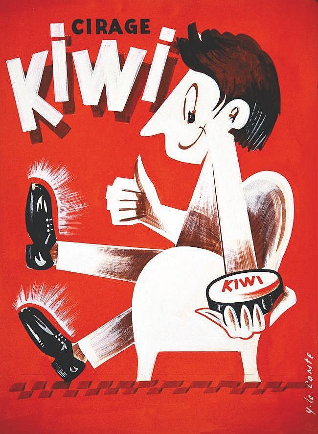 LE COMTE Y. Cirage Kiwi Gouache signée Y. Le Comte vers 1950