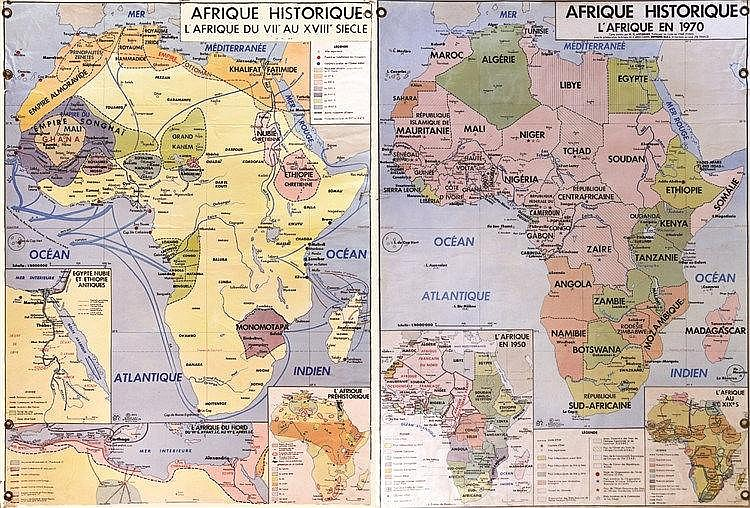 H. K. ATTIGNON Carte d'Afrique 2 faces représentant toute l'histoire du continent du VII siècle à 1970 1970