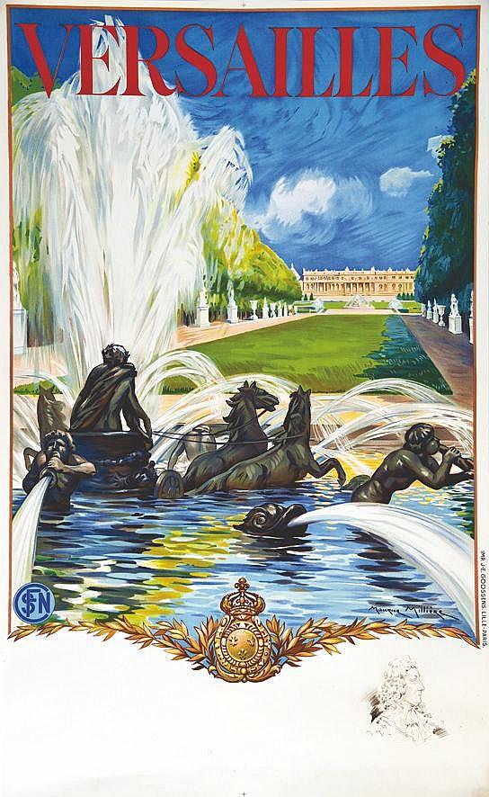 MILLIERE MAURICE  Versailles Le Château avec un portrait de Louis XIV en remarque     1936