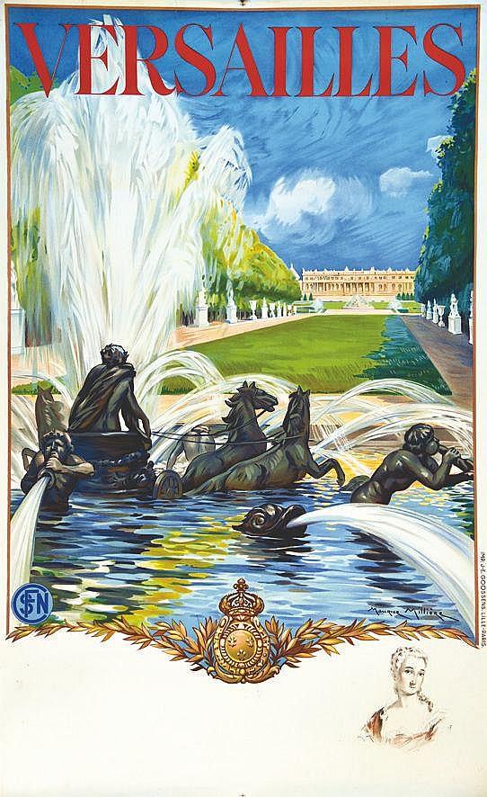 MILLIERE MAURICE  Versailles Le Château avec un portrait  Madame de Pompadour  en remarque     1936