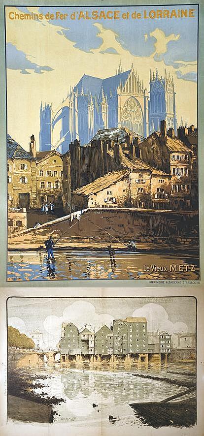 Lot de 2 Aff : Metz vers 1920