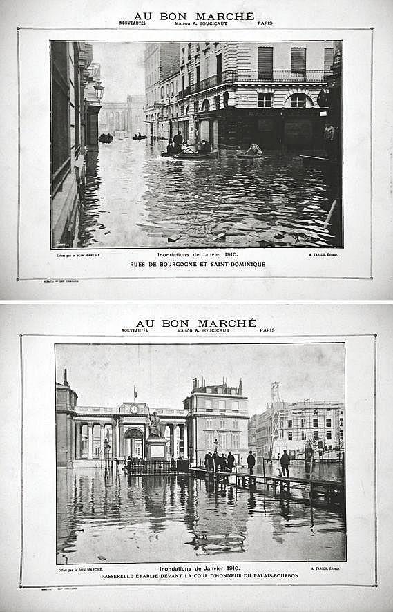 Lot de 2 Inondations 1910 : Cour d'Honeur du Palais Bourbon - La rue de Bourgogne 1910