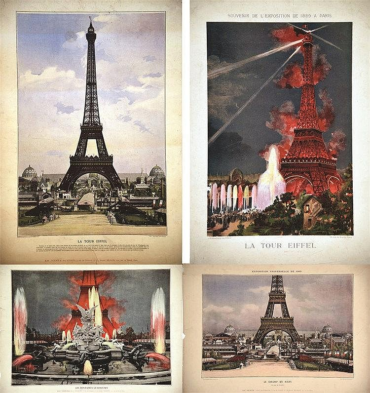 Lot de 4 Aff Exposition Universelle 1889 1889