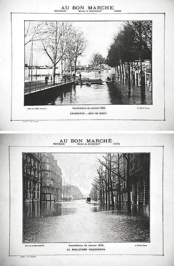 Lot de 2 Inondations 1910 : Boulevards Hausman - Gare St Lazare ( Rue de Rome )     1910