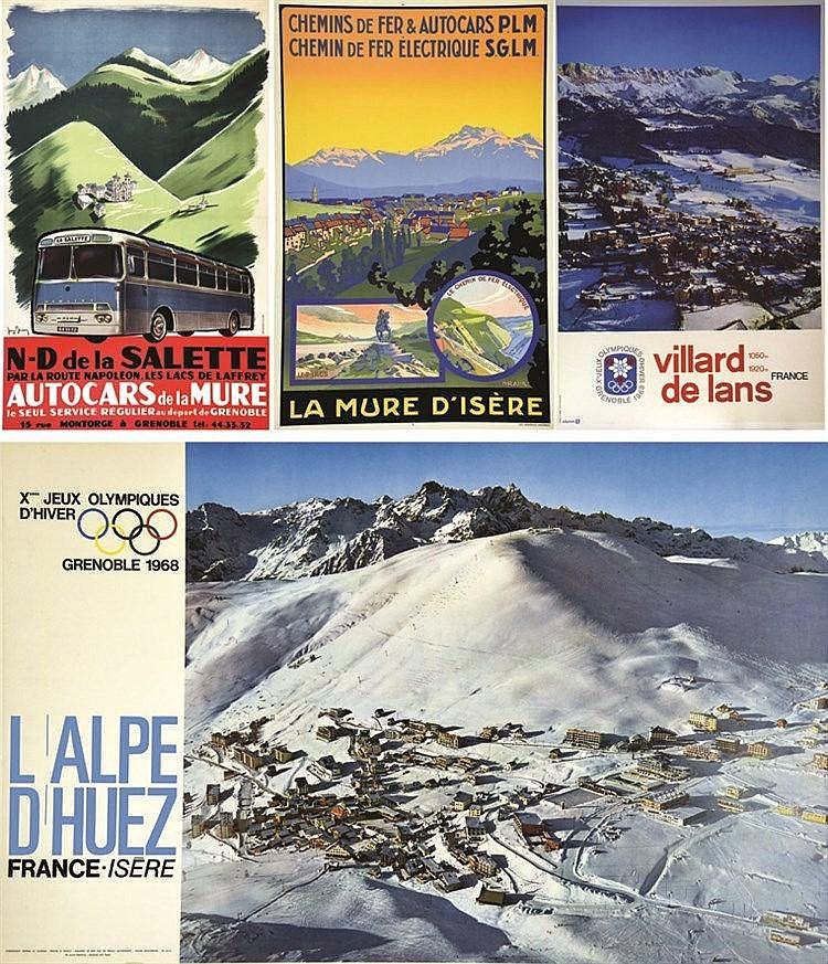 Lot de 4 Affiches: Autocars de la Mure, Salette - Villard de Lans - L'Alpe d'Huez - La Mure d'Isère     vers 1930 1950
