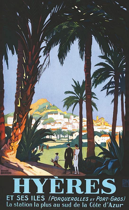 BRODERS ROGER  Hyères et ses Iles - Affiche Encadrée / Poster Framed     vers 1930