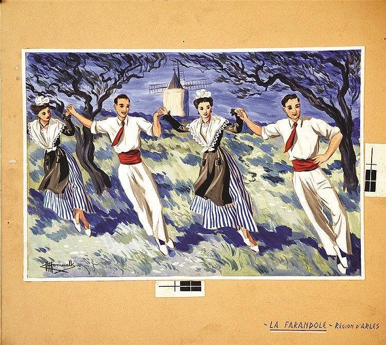HOMUALK CHARLES  Arles La Farendole Gouache signée Charles Homualk     vers 1930