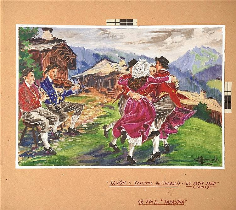 HOMUALK CHARLES  Costume de Chablais Gouache signée Charles Homualk     vers 1930