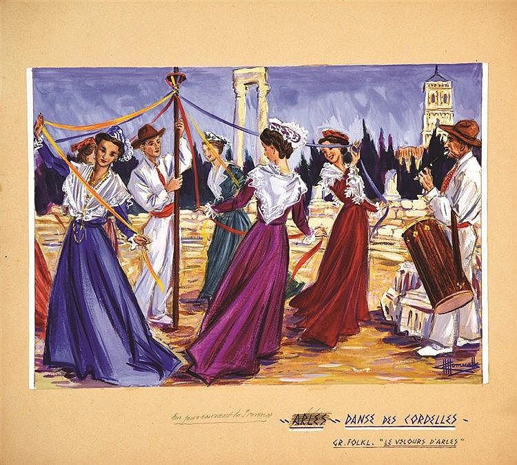 HOMUALK CHARLES  Arles Danse des Cordelles Gouache signée Charles Homualk     vers 1930