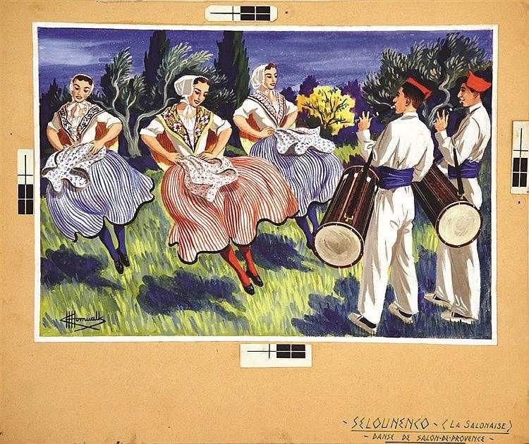HOMUALK CHARLES Selounenco ( La Salonaise ) Gouache signée Charles Homualk vers 1930
