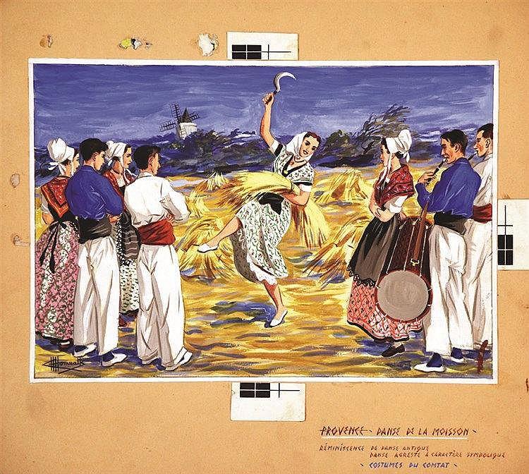 HOMUALK CHARLES  Arles - Danse des Arceaux Gouache signée Charles Homualk     vers 1930