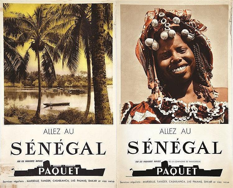 PHOTO : ARTIS & SERVICES INFO AOF  Lot de 2 Affiches Non Entoilées : Allez au Sénégal Paquet     vers 1950