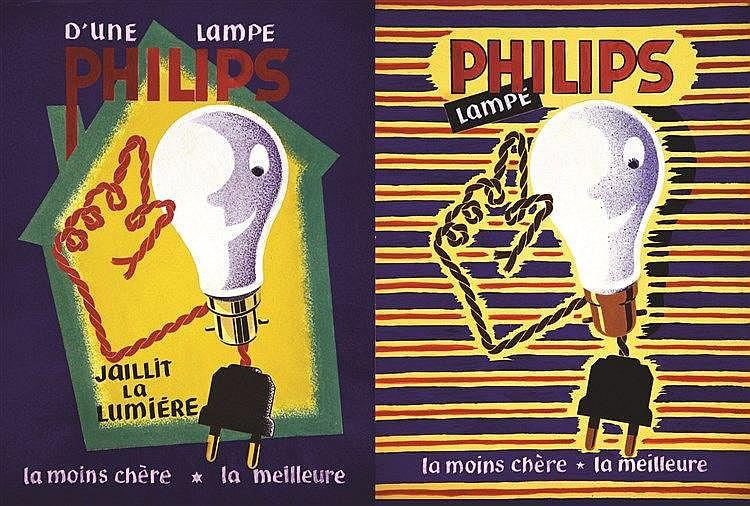 LE COMTE Y.  lot de 2 Gouaches : Philips  - Gouaches non signées     vers 1950