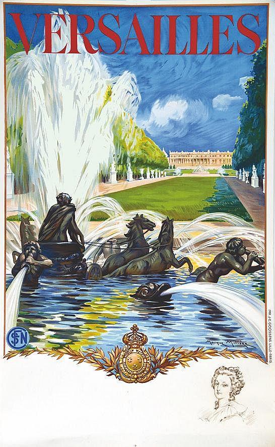 MILLIERE MAURICE Versailles Le Château avec le portrait de Marie Antoinette en remarque 1936