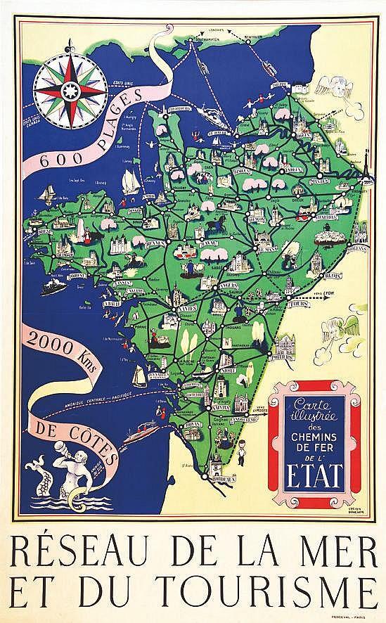 BOUCHER LUCIEN Réseau de la Mer et du Tourisme 2000 km de Côtes vers 1930