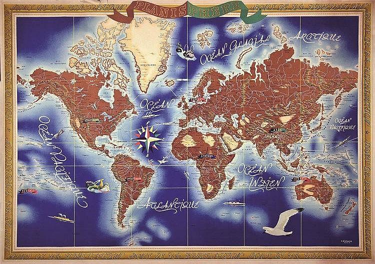 MERIGEAU R.  Lot de 2 aff : Planisphères     1945