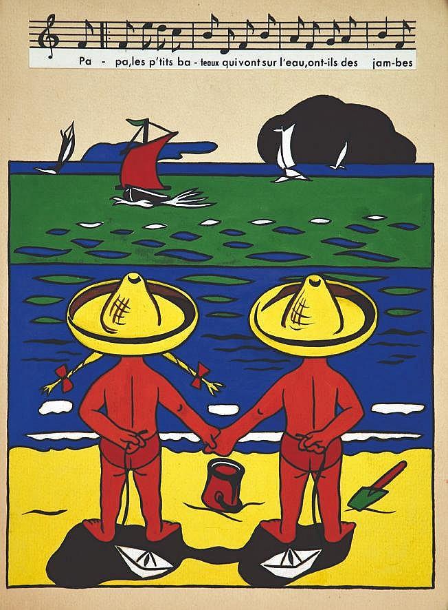 LE COMTE Y.  Papa les Petit bâteaux qui vont sur l'eau ont-ils ds jambes - Gouache non signée     vers 1950