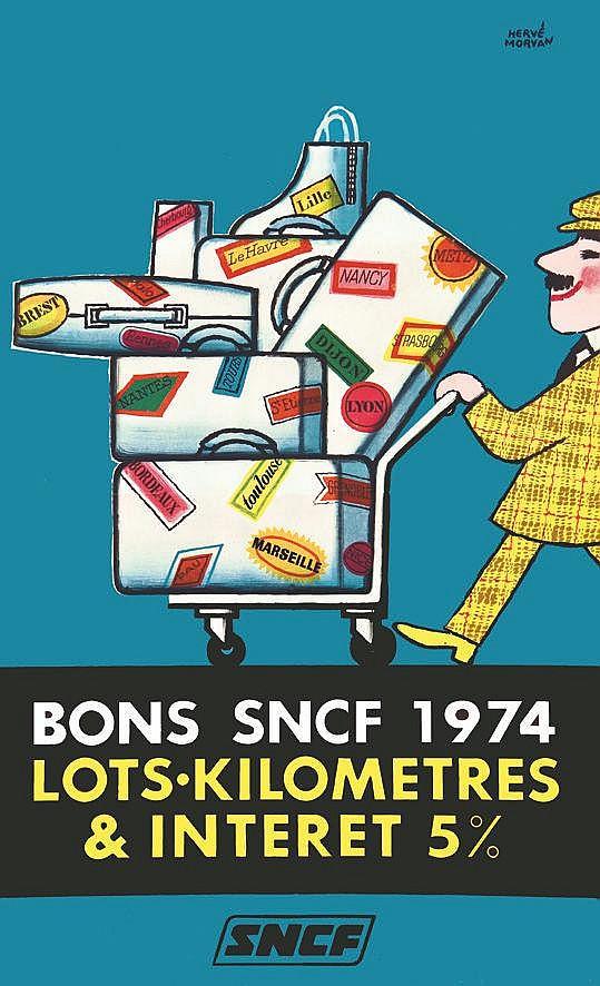 MORVAN HERVE Bons SNCF 1974, lots-Kilomètres & intérêts 5 % 1974