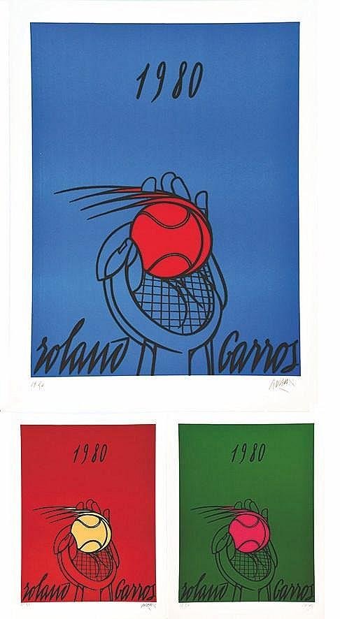 ADAMI VALERIO  Triptyque Roland Garros 1980 Lithographie signée par Valerio Adami et N° 37/50 & 17/50 & 19/50     1980