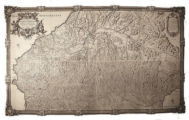 COQUART A. Carte Générale des Monts Pyrénées et partie des Royaumes de France & d'Espagne 1703