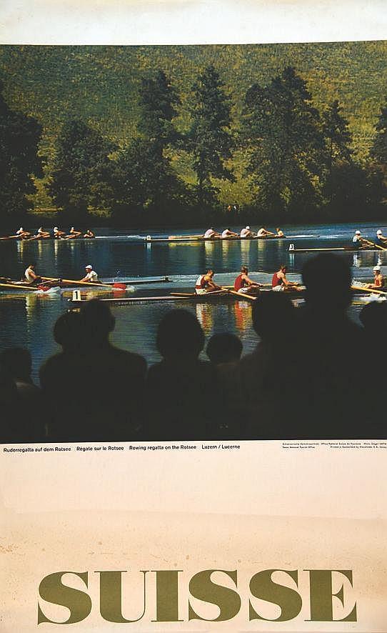 PHOTO : GEIGEL  Lucerne - Régate sur Rotsee     vers 1960