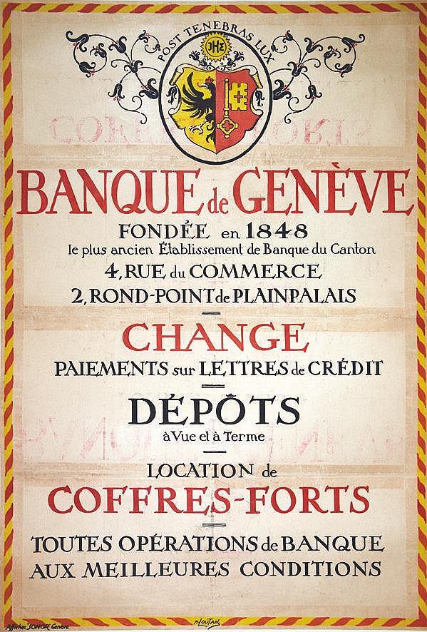 LOUTAN M. Banque de Genève fondée en 1848. Rare vers 1918