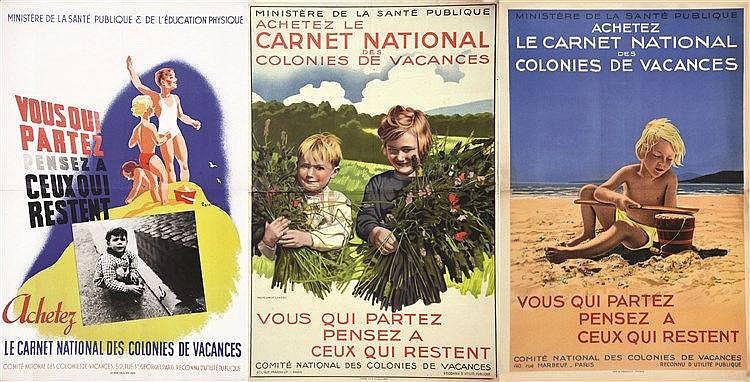 Lot de 3 Affiches: Carnet National des Colonies de Vacances     vers 1930