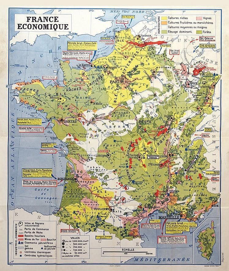 Carte de France Economique     vers 1950
