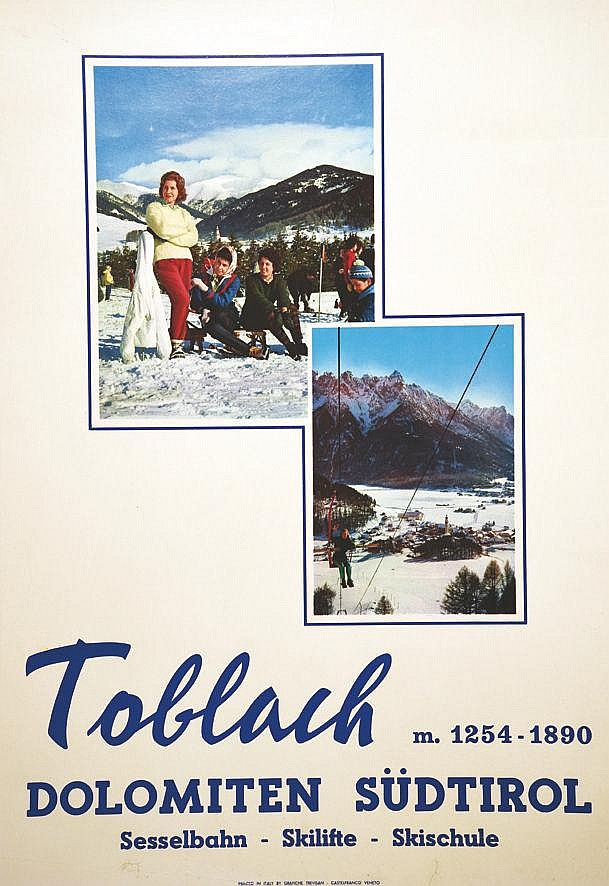 Toblach - Dolomiten Sudtirol Sesselbahn, Skilifte, Skischule     vers 1950