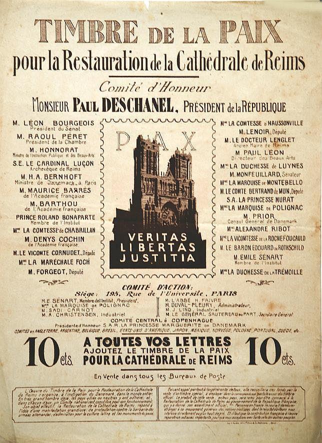 Timbre de la Paix pour la Restauration de la Cathédrale de Reims en vte Bureaux de Postes     vers 1919  Reims (Marne)