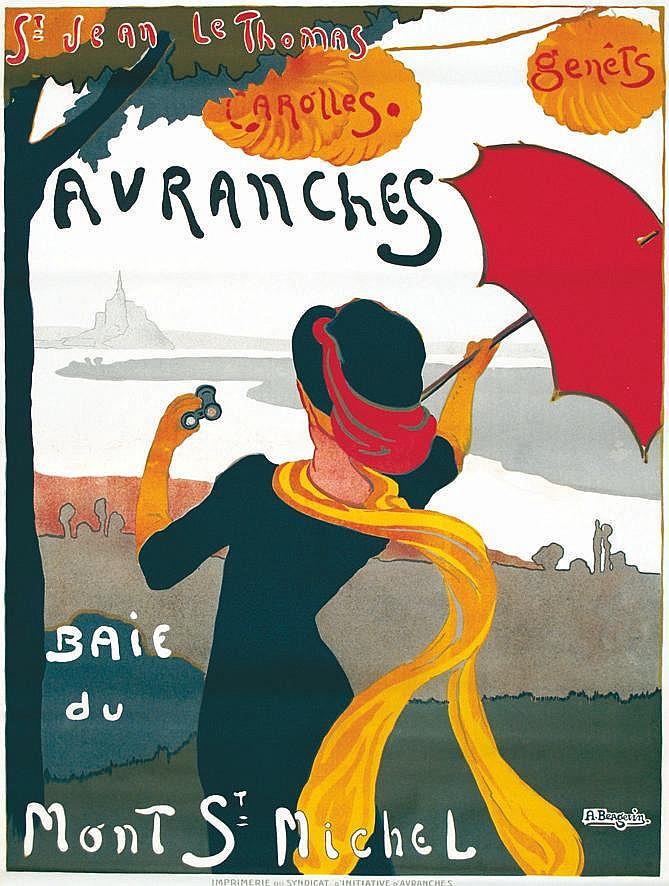 BERGEVIN  Avranches - Baie du Mont St Michel. St Jean le Thomas. Carolles - Affiche Encadrée     vers 1900