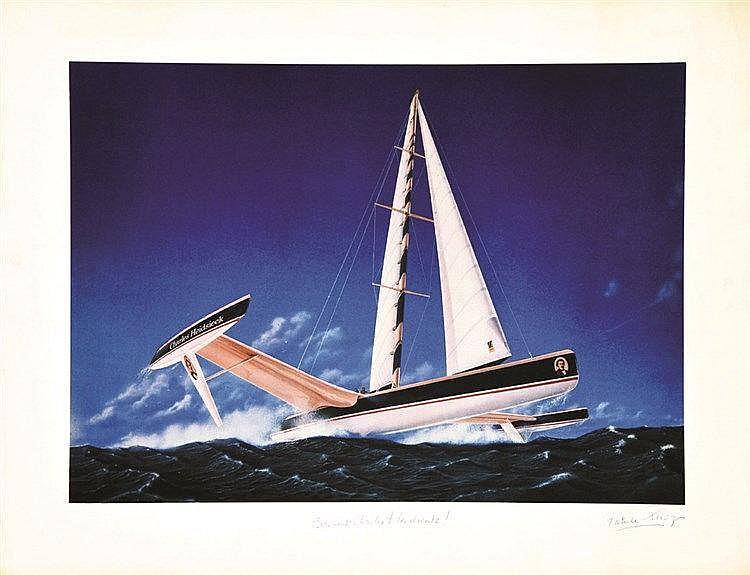 Charles Heidsieck Bon vent -  Estampe signée par Patrice Lerigue     vers 1980