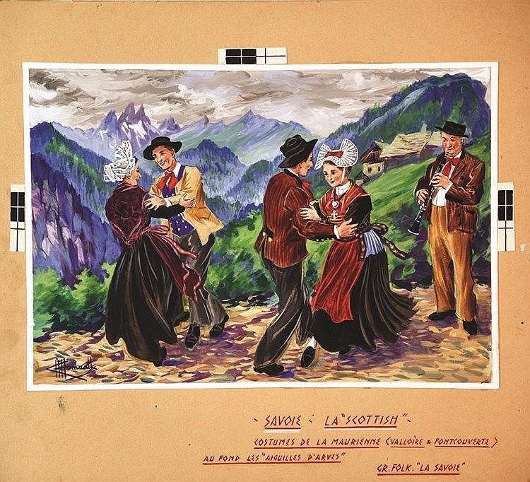 HOMUALK CHARLES La Scottish Gouache signée Charles Homualk vers 1930