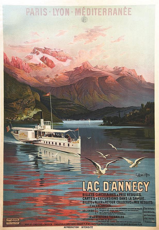 HUGO D'ALESI F.  Lac D'Annecy - Billets Circulaires à Prix Réduits     vers 1900