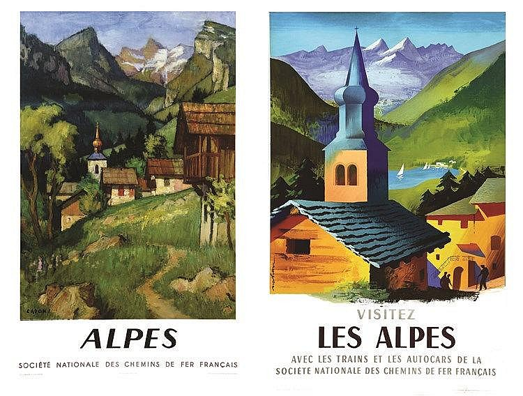 NATHAN & CAPON  Les Alpes lot de 2 Affiches / Lot of 2 Posters     1956 & 1958