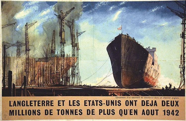 ROWLAND HILDER  L'Angleterre et les Etats-Unis ont déjà deux Millions de Tonnes de plus qu'en août 1942     vers 1944