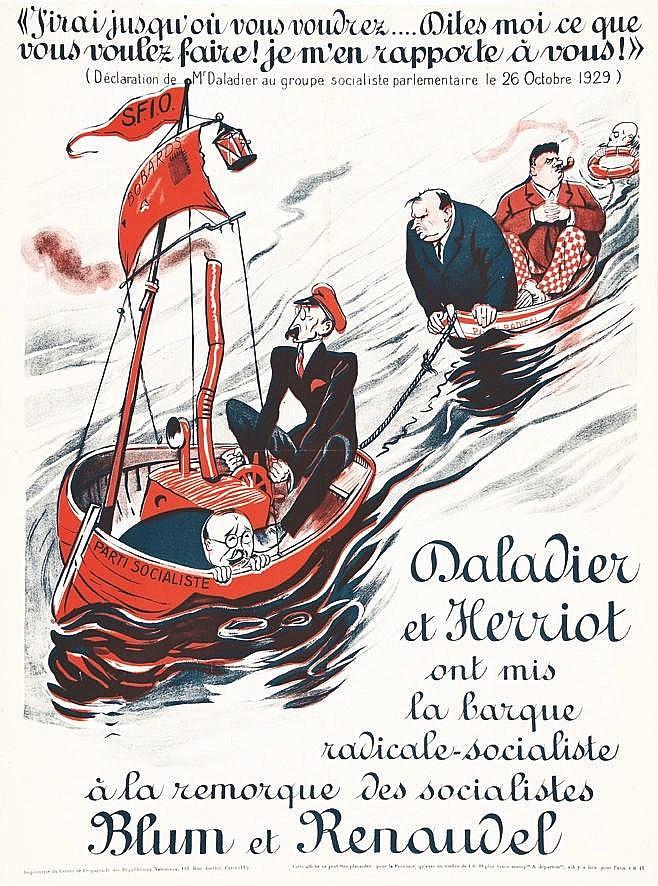 Daladier & Henriot Blum & Renaudel     vers 1930