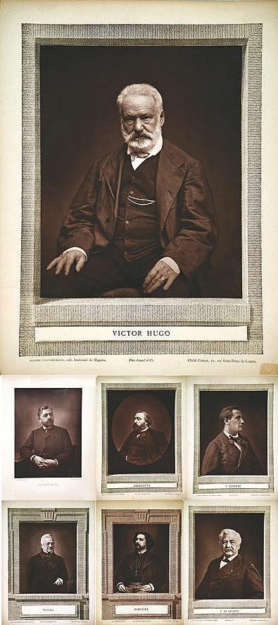 Photos : Gustave Eiffeil - Gambetta - F. Coppée - Daudet - F. de Lesseps - Thiers - Victor Hugo     1877