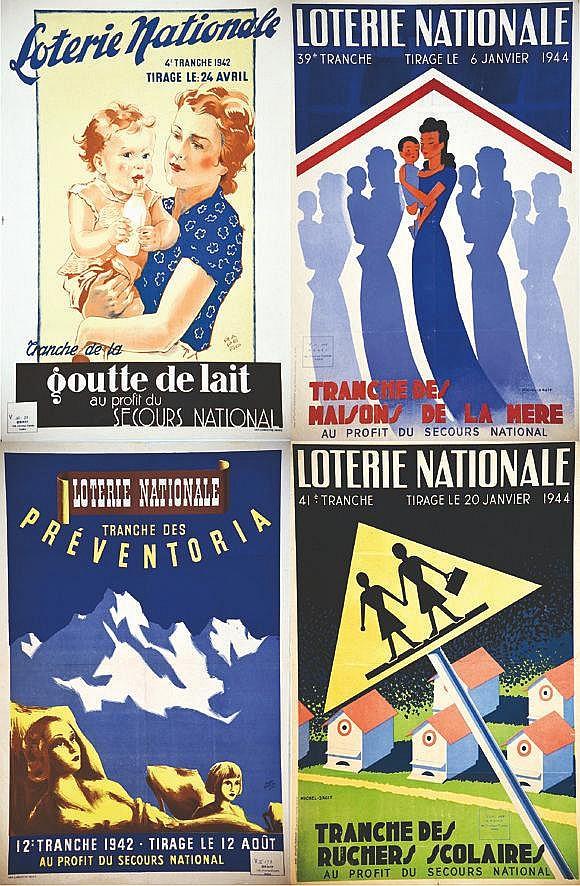 RAPENO - MICHEL DROIT(2) - ROGER ADAM  Lot de 4 Aff Loterie Nationale:Maisons de la Mère - Ruchers Scolaires - Preventoria - Goutte de lait     1942 - 1944  Levallois Perret (Hauts de Seine)